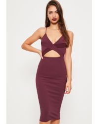 Missguided | Purple Crepe Strappy Cutout Waist Midi Dress | Lyst