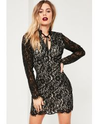 Missguided | Black Lace Tie Neck Bodycon Dress | Lyst