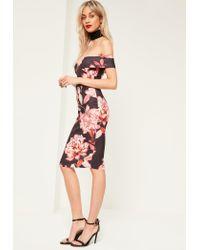 Missguided - Black Floral Black Bardot Midi Dress - Lyst