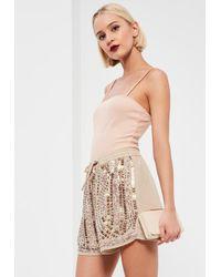 Missguided | Multicolor Nude Premium Sequin Shorts | Lyst