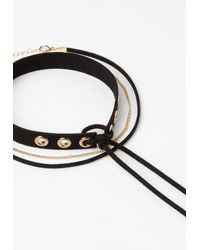 Missguided - Black Eyelet Detail Choker Necklace Set - Lyst