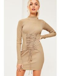 Missguided   Natural Nude Corset Lace Up Detail Sweater Dress   Lyst