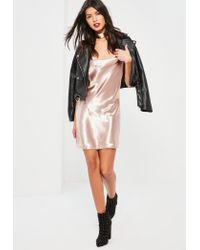Missguided Pink Satin Cowl Front Shift Dress