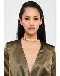 Missguided - Metallic Peace + Love Gold Lion Head Metal Choker Necklace - Lyst