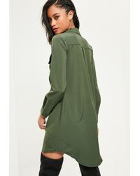 Missguided | Green Khaki Utility Pocket Lace Up Dress | Lyst