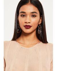 Missguided | Metallic Gold Double Hoop Earrings | Lyst