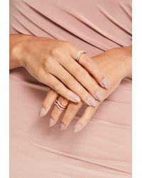Missguided | Pink Rose Gold Diamante Stacking Ring Set | Lyst