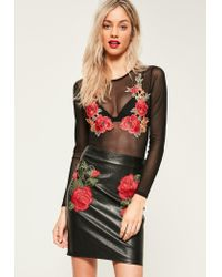 Missguided | Black Rose Applique Mesh Long Sleeve Bodysuit | Lyst