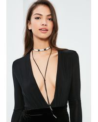 Missguided - Metallic Silver & Black Metal Plate Choker Necklace - Lyst
