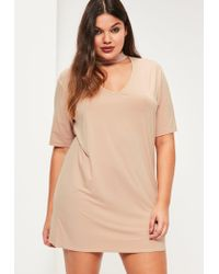 2c05306c1aac2 Missguided Plus Size Nude Choker Neck T-shirt Dress in Natural - Lyst
