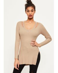 Missguided | Natural Camel V Neck Ribbed Knitted Tunic Top | Lyst