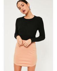 Missguided | Natural Nude Ponte Curve Hem Mini Skirt | Lyst