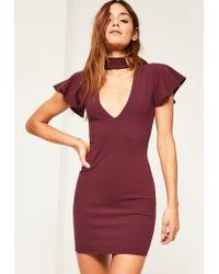 Missguided   Purple Burgundy Crepe Frill Sleeve Choker Neck Bodycon Dress   Lyst