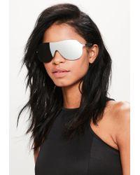 Missguided Metallic Silver Shield Oversized Sunglasses