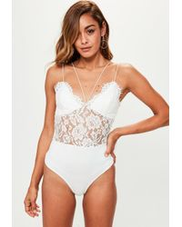 Missguided - Premium White Corded Lace Harness Bodysuit - Lyst
