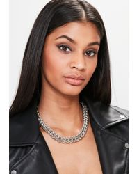 Missguided - Metallic Silver Chunky Chain Necklace - Lyst