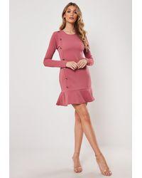 Missguided Pink Rose Horn Button Frill Hem Shift Dress
