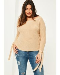 Missguided   Natural Plus Size Camel Tie Sleeve Bardot Jumper   Lyst