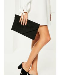 Missguided | Black Faux Suede Envelope Clutch Bag | Lyst