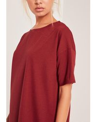 Missguided Red Burgundy Oversized T-shirt Dress