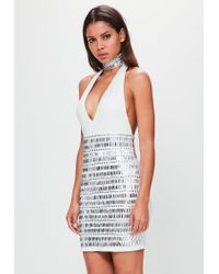 Missguided - Metallic Peace + Love Silver High Waisted Embellished Bodycon Skirt - Lyst