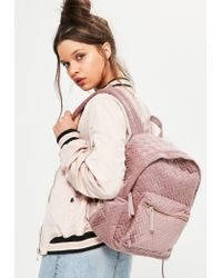 Missguided | Pink Stitch Detail Velvet Backpack | Lyst