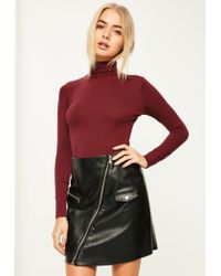 6f78937782 Missguided Burgundy Roll Neck Long Sleeve Bodysuit in Red - Lyst