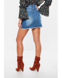 Missguided - Blue Frayed Hem Denim Mini Skirt - Lyst