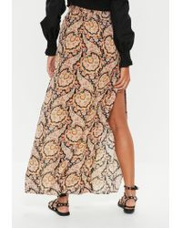 Missguided Black Paisley Maxi Skirt