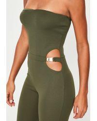 Missguided - Green Khaki Bandeau Buckle Waist Unitard Jumpsuit - Lyst