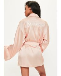 Missguided | Natural Nude Bridesmaid Robe | Lyst