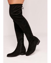 Missguided - Flat Over The Knee Boots Black - Lyst