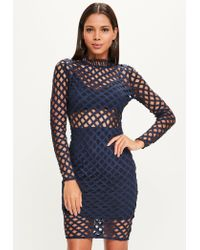 Missguided | Blue Navy High Neck Lace Long Sleeve Midi Dress | Lyst