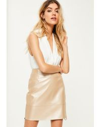 Missguided | Natural Nude Shine Ringpull Faux Leather Mini Skirt | Lyst