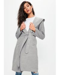Missguided | Gray Grey Faux Wool Hooded Duster Coat | Lyst