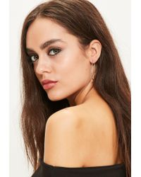Missguided | Metallic Silver Oval Hoop Earrings | Lyst