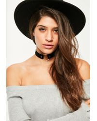 Missguided - Black Contrast Circle Trim Choker Necklace - Lyst