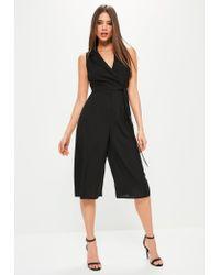 Missguided   Petite Black Tuxedo Sleeveless Wrap Jumpsuit   Lyst