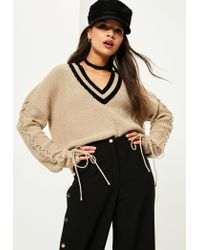 Missguided | Natural Camel Lace Up Sleeve Plunge Jumper | Lyst