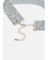 Missguided - Metallic Silver Diamante Encrusted Choker Necklace - Lyst