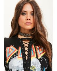 Missguided | Black Stud Detail Choker Necklace | Lyst