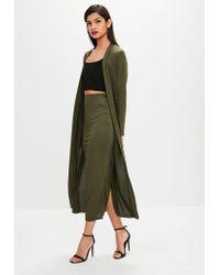 Missguided - Green Khaki Bodycon Midi Skirt - Lyst
