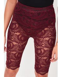 Missguided | Red Burgundy Lace Cycling Shorts | Lyst