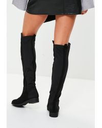 Missguided - Black Contrasting Material Knee High Flats - Lyst