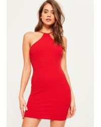 Missguided   Red Racer Neck Bodycon Dress   Lyst