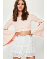 Missguided | White Crinkle Chiffon Floaty Frill Shorts | Lyst