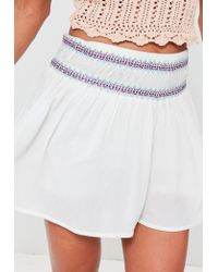Missguided - White Embroidered Waist Floaty Crepe Shorts - Lyst