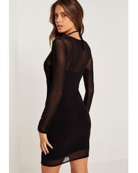 Missguided Harness Mesh Overlay Bodycon Mini Dress Black