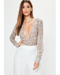 Lyst - Missguided Tall Exclusive Mauve Dragon Print Wrap Bodysuit in ... 2d4fb8be9