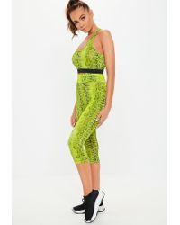 Missguided Green Active Lime Snake Print 3/4 Leggings